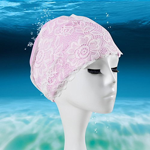 Smartcoco Waterproof Quick Dry Swimming Cap For Women Girls Lace Decoration Bathing Hat Swimming Pool - Tyre Dye