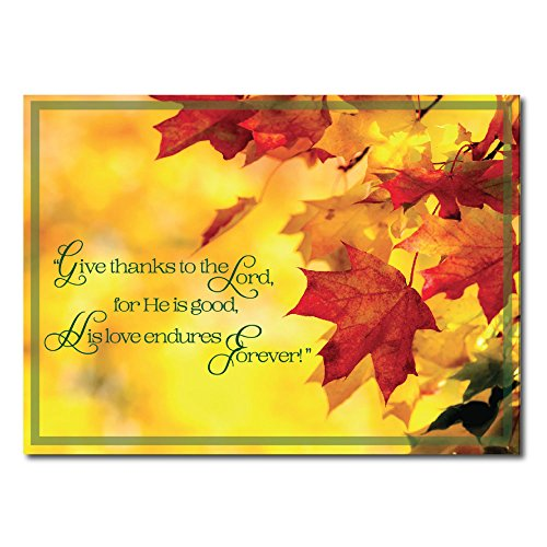 Christian Thanksgiving Card TH1611. The message throughout gives thanks for the season and honors God for His boundless blessings. Gold foil-lined envelopes.