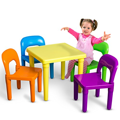 OxGord PLTC-01 Kids Plastic Table and Chairs Set (4 Chairs and 1 Table) - 4 Chair Set Pastel