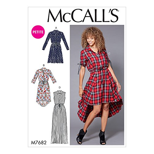 McCall's Patterns M7682E50 Miss Petite Shirtdresses with Drawstring Waist