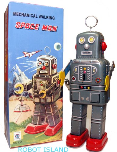 Mechanical Spaceman Robot Tin Toy Windup with (Spaceman Tin Robot)