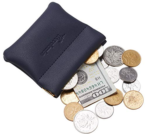 - Travelambo Leather Squeeze Coin Purse Pouch Change Holder For Men & Women (Access Blue Navy)