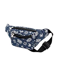 Blue Denim Silver Glitter Floral Print Waist Bag Fanny Pack Money Bum Bag Hip Belt