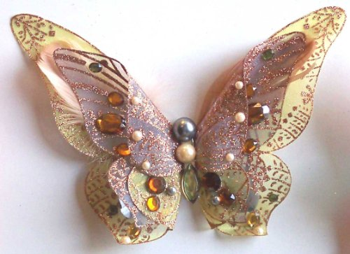 Golden 3D Jeweled Butterfly Clip