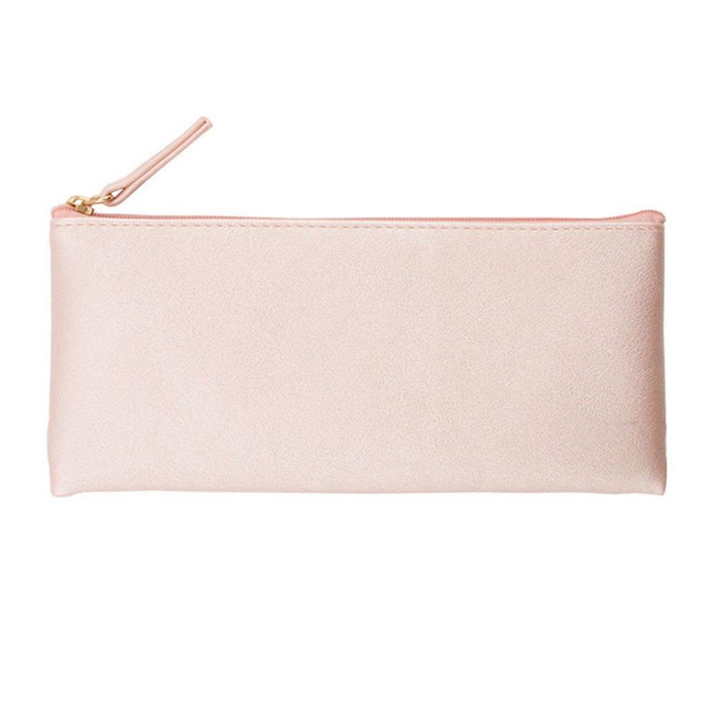 Wdoit trousse da donna semplice solido colore PU matita di piccoli oggetti Storage Bag Phone bag Purse