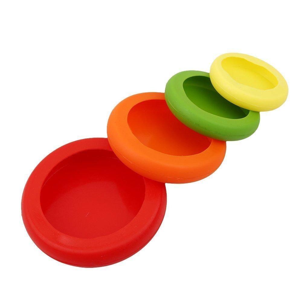 SODIAL 4Pcs Silicone reutilisable Emballage alimentaire Joint d'etancheite Etendue Couvercles d'aliments frais Embraceurs Sauveur de nourriture Cuddlers Accessoires de cuisine