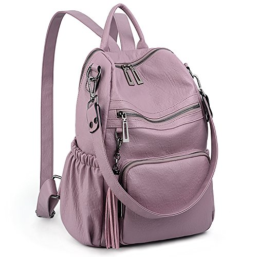 UTO Women Backpack Purse PU Washed Leather Convertible Ladies Rucksack Tassel Zipper Pocket Shoulder Bag C Light Purple ()