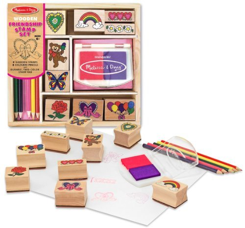 Friendship: Wooden Stamp Set + FREE Melissa & Doug Scratch Art Mini-Pad Bundle [16322]