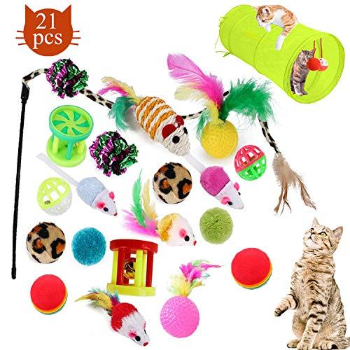 WELLXUNK Katzenspielzeug, 21 Stück Katzen Spielezeug Set mit katzentunnel Kätzchen Maus Spielzeug Kätzchenspielzeug mit…
