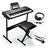 Hamzer 61-Key Digital Music Piano Keyboard – Portable Electronic Musical Instrument - with Stand, Stool, Headphones & Microphone