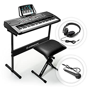 Hamzer 61-Key Digital Music Piano Keyboard – Portable Electronic Musical Instrument - with Stand, Stool, Headphones & Microphone our