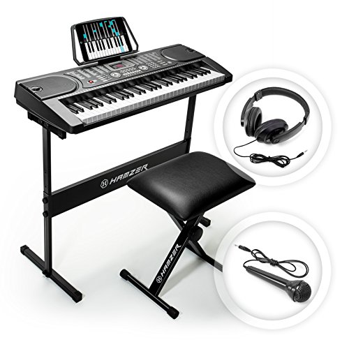 Hamzer 61 Key Portable Electronic Keyboard Piano with Stand, Stool, Headphones & Microphone by Hamzer