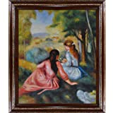 overstockArt Two Girls In The Meadow ''Picking Flowers''-Framed Oil Reproduction of an Original Painting by Pierre Auguste Renoir