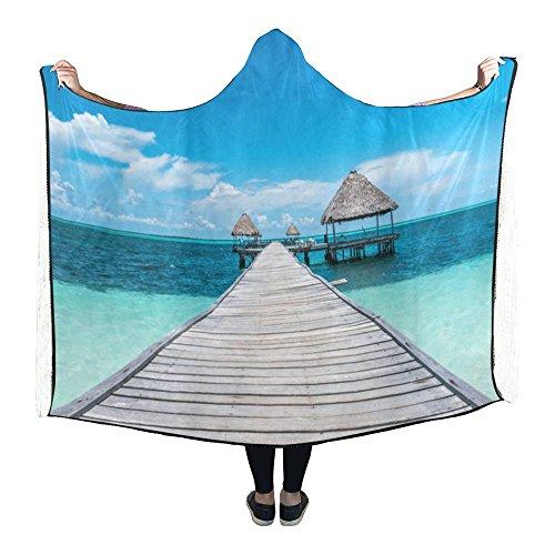 - InterestPrint Happy More Custom Caribbean Paradise Wearable Durable Cape Hooded Blanket
