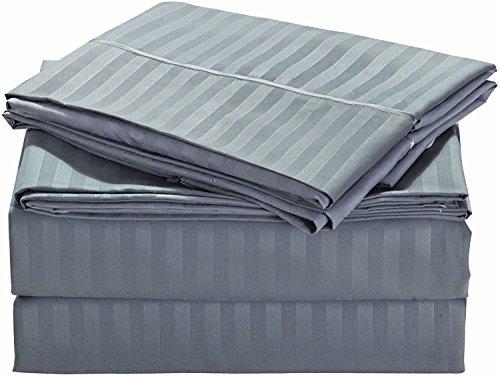 Striped Bed Sheet Set  - Soft embossed brushed microfiber -