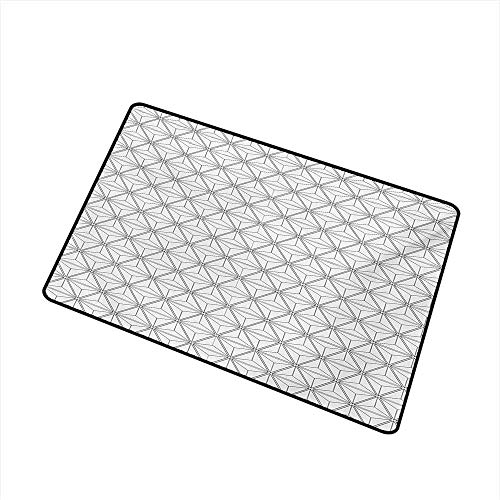 (BeckyWCarr Geometric Commercial Grade Entrance mat Lines Stripes Crossing in Hexagonal Design with Triangles Modern Art Print for entrances, garages, patios W31.5 x L47.2 Inch,Black and White)