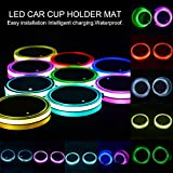 Car Cup Holder Lights, Aolvo Waterproof USB Charging LED Cup Coasters Pad with Light Sensor and Vibration Sensor, Automatically Turn On At Dark, 8 Color Luminescent Cup Mat for All Cars - 2 Pack