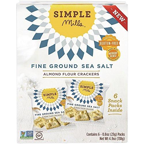 Simple Mills Almond Flour Cracker Snack Pack, Fine Ground Sea Salt, Naturally Gluten Free, 4.9 oz