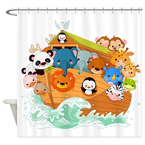 CafePress Whimsical Noah's Ark Shower Curtain Decorative Fabric Shower Curtain (69