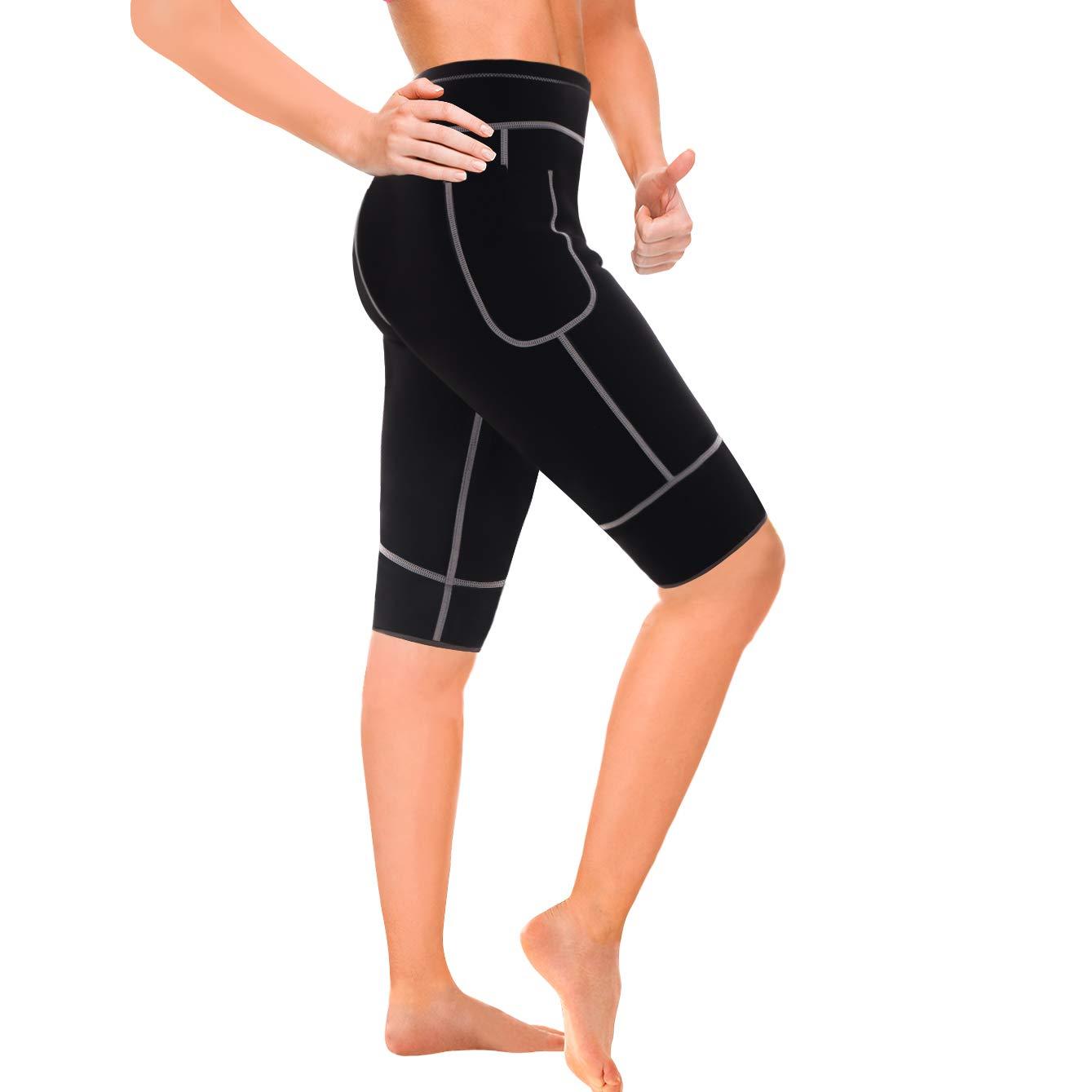Wonderience Women Sauna Weight Loss Slimming Neoprene Pants with Side Pocket Hot Thermo Fat Burning Sweat Leggings (Black-Gray, S)