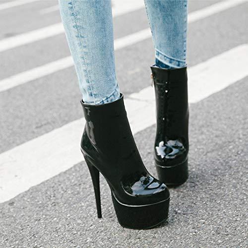 Talons Cuir Femmes Black Plateforme À Liuyl Bottes Courtes Pour Bout Bottillons Parti Club Rond Chaussures Hauts Pu Sexy wTqE8qcX