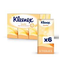 KLEENEX FACIAL ON THE GO Facial Tissues with Aloe Vera & Vitamin E, To-go Pocket Tissue, 0.15kg, Pack of 54