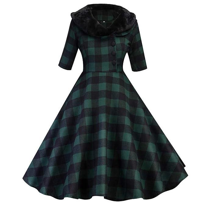 3eeba0e674 50S 60S Vintage Dresses Sleeveless for Women Plaid Print Casual Pleated  Belt Prom Swing Dresses for Summer
