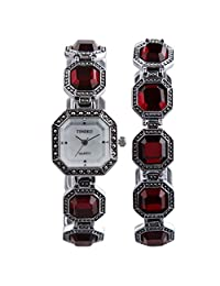 TIME100 Fashion Vintage Women's Bracelet Watches Mother Of Pearl Dial Red Quartz Dress Casual W50134L