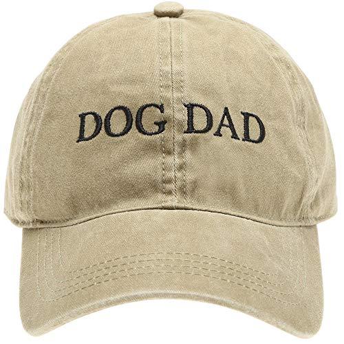 MIRMARU Baseball Dad Hat Vintage Washed Cotton Low Profile Embroidered Adjustable Baseball Caps (Dog Dad - Khaki)