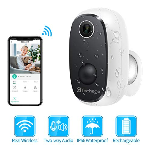 Techage Rechargeable Battery Powered Security Camera Indoor/Outdoor WiFi Camera, Wireless 1080P Home Security Camera with Two-way Audio,PIR Motion Detection,Waterproof, Support Cloud & SD Card Storage