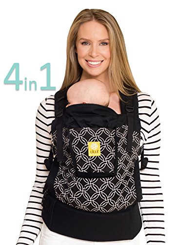 LLLbaby 4 in 1 Essentials All Seasons Baby Carrier, Black Knots