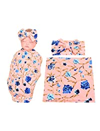 DPSKY Baby Swaddle Blanket Home from Hospital Outfit Bow Headband Value Set Baby Receiving Blankets
