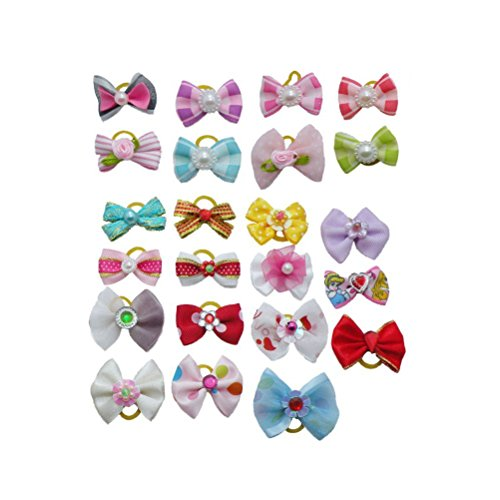 Pixnor Pet Dog Hair Bows Accessories With Rubber Bands Pack Of 20