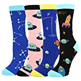 Women's Novelty Crazy Crew Socks Space Alien Rocket Astronaut Constellation Dress Socks