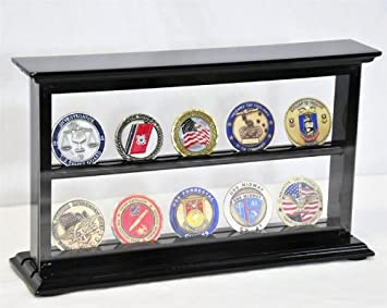 sfDisplay.com, Factory Direct Display Cases 2 Shelves Military Challenge Coin Curio Stand Rack w UV Protection Viewing from Both Side