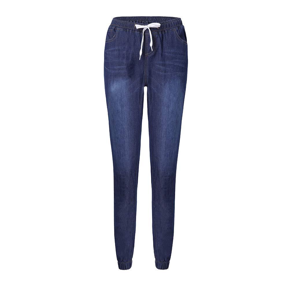 JackRuler Gro/ß Gr/ö/ße Damenbekleidung Elastizit/ät Lose Cowboy Freizeit Kordelzug Jeans neun Punkten