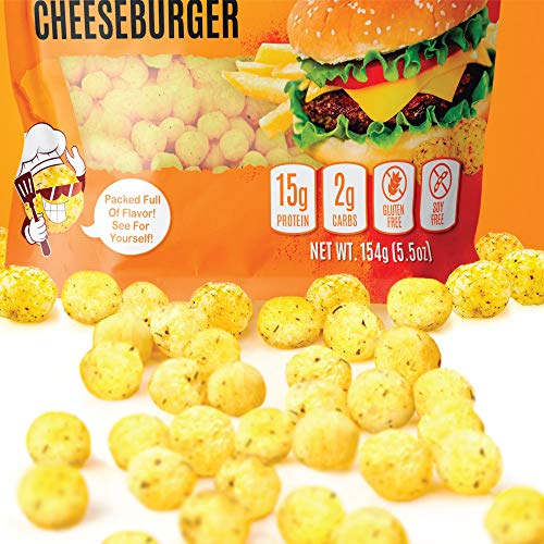 Keto Protein Puffs - Low Carb Snacks | High Protein Crunch, Healthy Gluten & Grain Free Snack Food - Low Calorie Guilt Free Ketogenic Diet Friendly | 1g Sugar - Legendary Cheese Burger Flavor - 7 SV