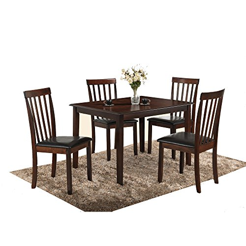 Dining Set Of 5 Pieces With Upholstered Side Chairs In Traditional Style And Cappuccino Finish plus FREE GIFT