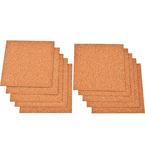 Square Coaster Weight Coasters - TecUnite 10 Pieces Self-adhesive DIY Absorbent Coaster Square Cork Coasters Lightweight Cork Pads for Drinks Cups