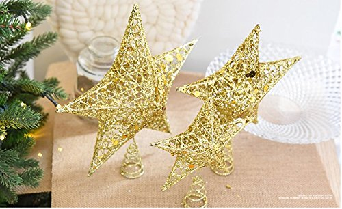 Sricam Christmas Tree Topper, 7.8'', Wire Gold Tree Star for Chirstmas Decoration
