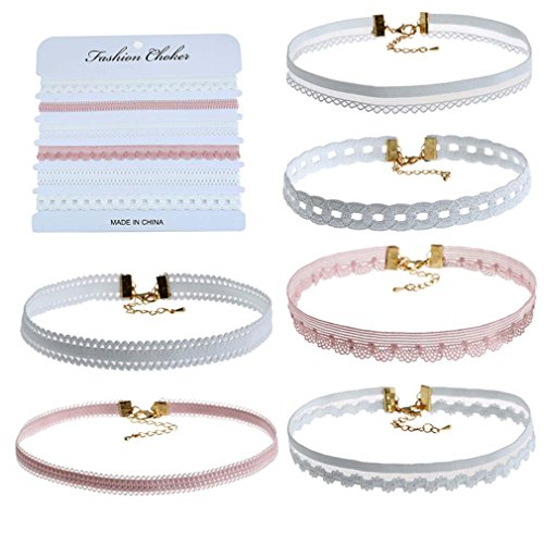 (MJartoria Women Girls White Pink Henna Tattoo Lace Velvet Wrap Choker Necklace Set of 6 (White Pink))