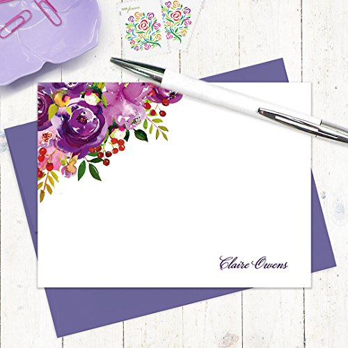Peony Flat Card (personalized note cards - PURPLE PEONIES WATERCOLOR FLOWERS - set of 12 flat note cards - stationery - stationary)