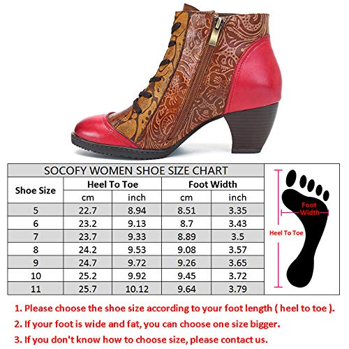 Socofy Lace Outdoor Boots Heel Leather Zipper Splicing Pattern Flower Block Booties Bohemian Ankle Rose up qrYBHq