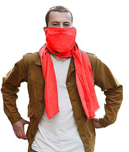 Scough Pollution Protection Scarf Filter Mask with Activated Carbon Filter Protectant - MADE IN THE USA Maximum protection against dust, pollutants, ash, allergens and germs - Jasper Red