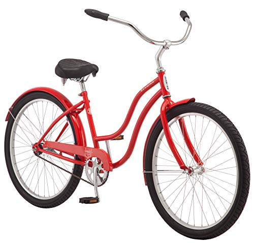 Schwinn Mikko Women's Cruiser Bike, Featuring 17-Inch/Medium Steel Frame, Single-Speed Drivetrain, Full Front and Rear Fenders, and 26-Inch Wheels, Red ()