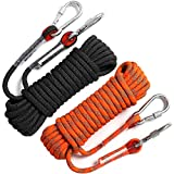 GINEE 10mm Static Outdoor Rock Climbing Rope with Carabiner 35FT Black,Arborist Tree Climbing Gear with Safety Ropes,Rescue Grappling...