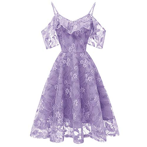 Imprim Dentelle Femme Mini Robes Bringbring Chic Fleur de Violet Robe Princess Cocktail cZqyYWHMq