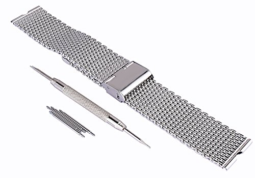 FORESEEX Replacement Stainless Steel Silver Mesh Metal Watch Wrist Band for Motorola Moto 360 Smart Watch with Spring Bar Pins
