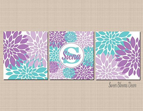 Purple Teal Nursery Wall Art Lavender Aqua Nursery Decor Floral Name Monogram Art Decor,Purple Teal Bathroom Baby Shower Gift-UNFRAMED Set of 3 PRINTS (NOT CANVAS) - Ups First Tracking Mail Class