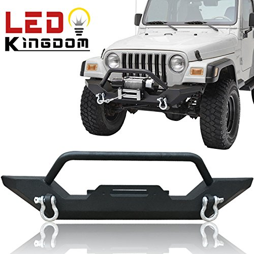 LEDKINGDOMUS 87-06 Jeep Wrangler TJ/YJ Heavy Duty Rock Crawler Front Bumper with 2x D-ring & Winch Plate(Textured Black)